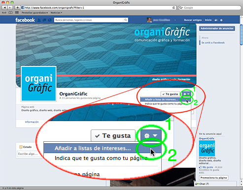 Imagen 1 - Listas de intereses en Facebook