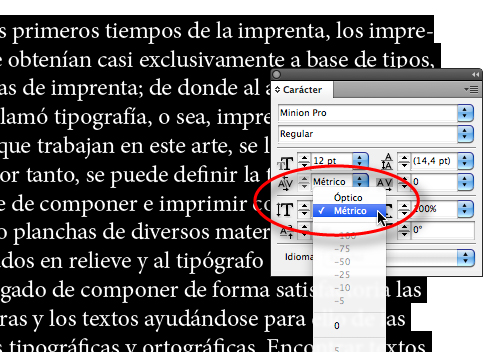 Aplicación de kerning en InDesign