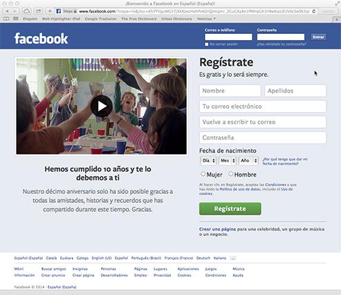 Pantalla de registro de Facebook