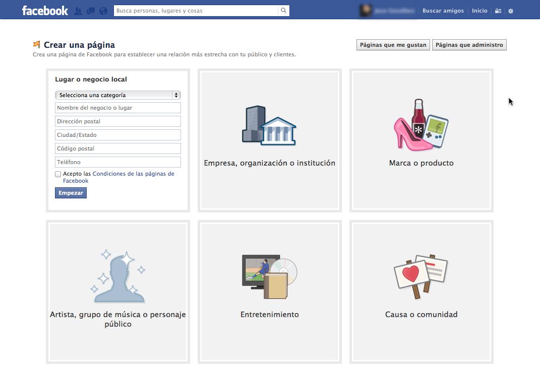 Creación de una página en Facebook