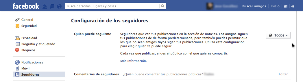 Activar opción de seguir en Facebook