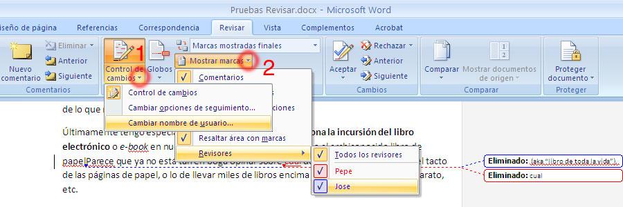 Captura de pantalla cambiar y mostrar nombre de usuario en revisar de Word