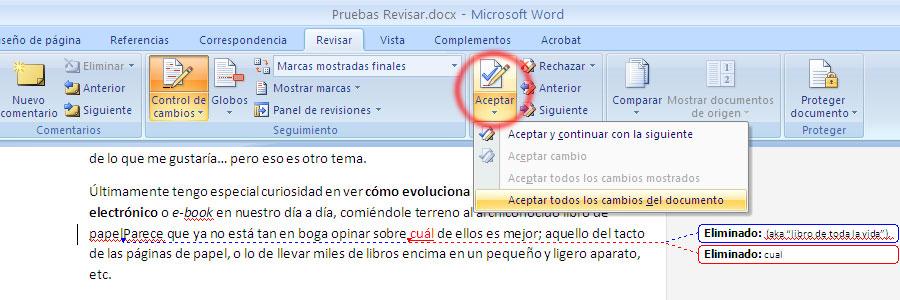 Captura de pantalla aceptar y rechazar cambios en revisar de Word