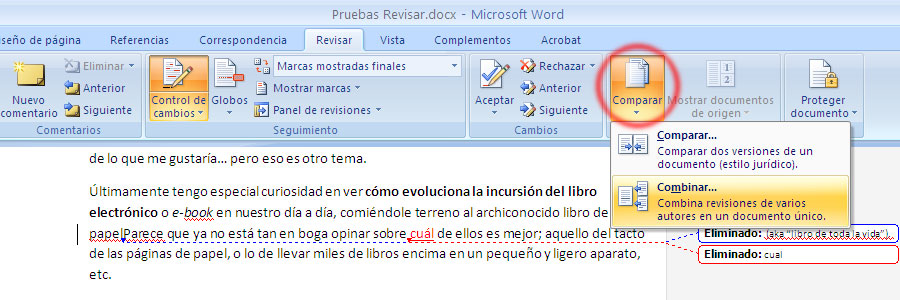 Captura de pantalla combinar dos documentos en Word