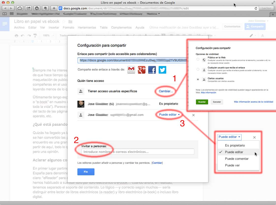 Captura de modos de compartir en Google Docs