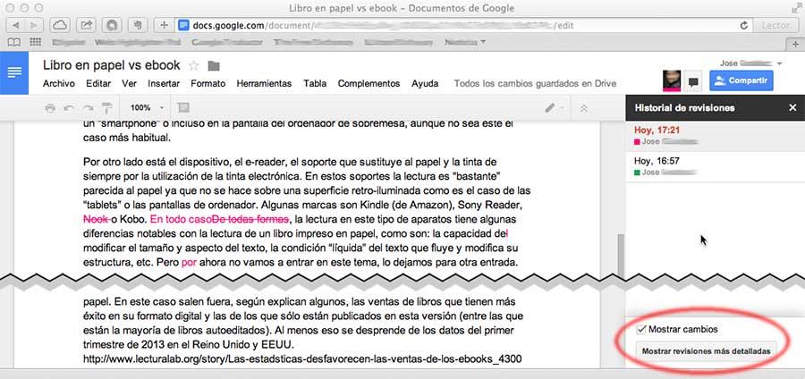 Captura de manejo del historial de revisión en Google Docs