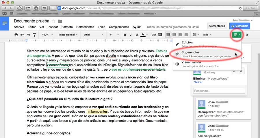 Captura sobre modos de edición en Google Docs