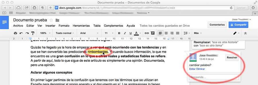 Captura de comentarios en Google Docs