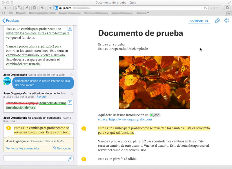 Captura de documento en Quip
