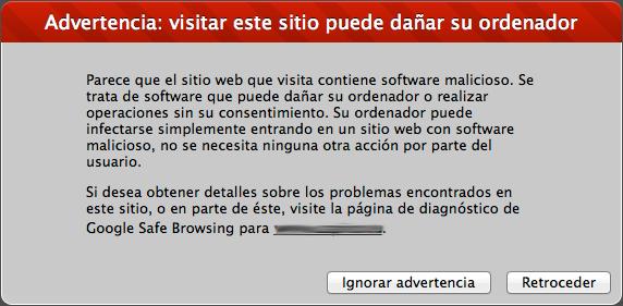 Mensaje de alerta: web infectada con malware
