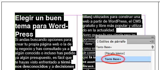 Texto sin estilo aplicado correctamente en InDesign