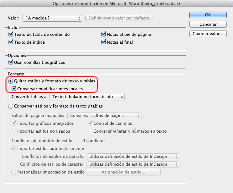 Configurando las opciones de importación de texto en InDesign
