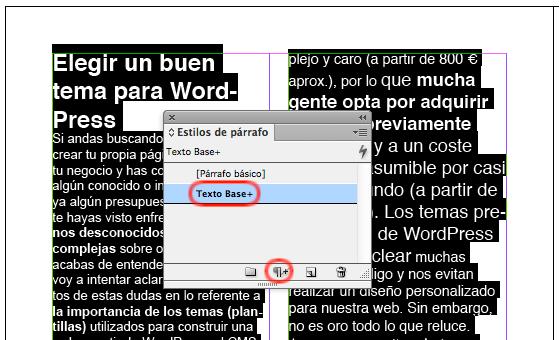 """Aplicando un """"Estilo de párrafo"""" con modificaciones locales en InDesign"""