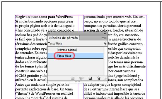 Eliminando modificaciones locales en un texto en InDesign