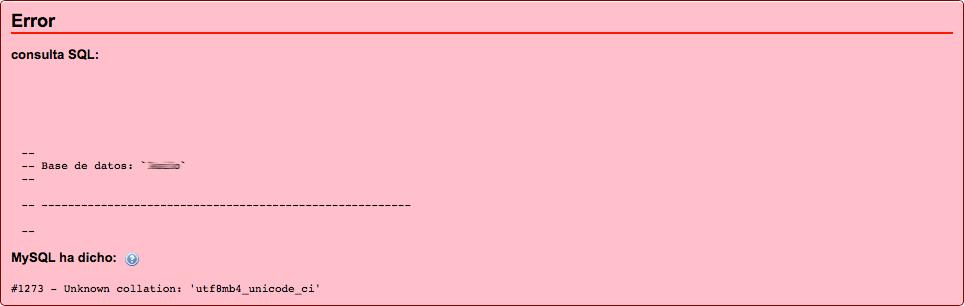 Errores de importación base de datos MySQL (utf8 -> utf8mb4)