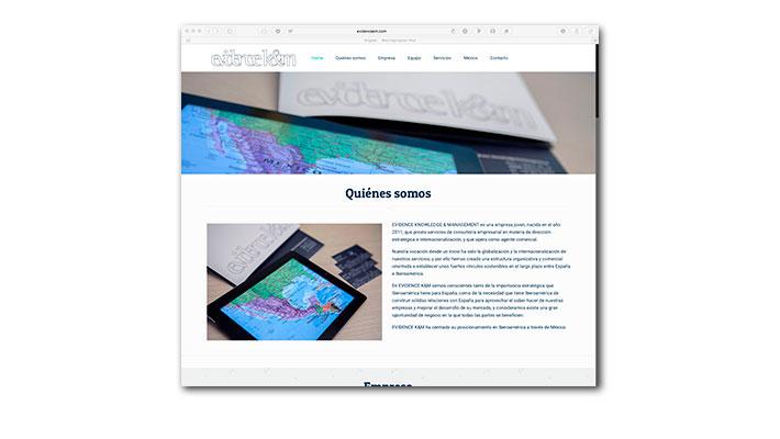 Diseño Web Evidence K&M Homepage