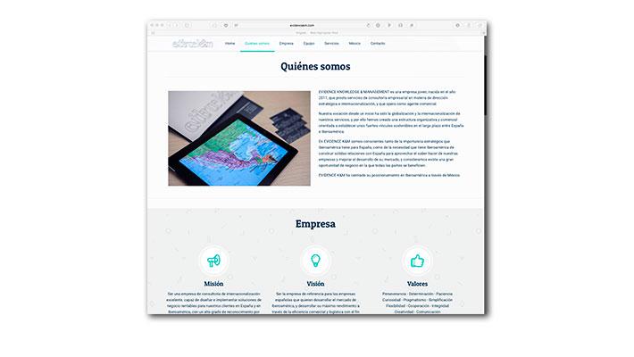 Diseño Web Evidence K&M - Quienes Somos