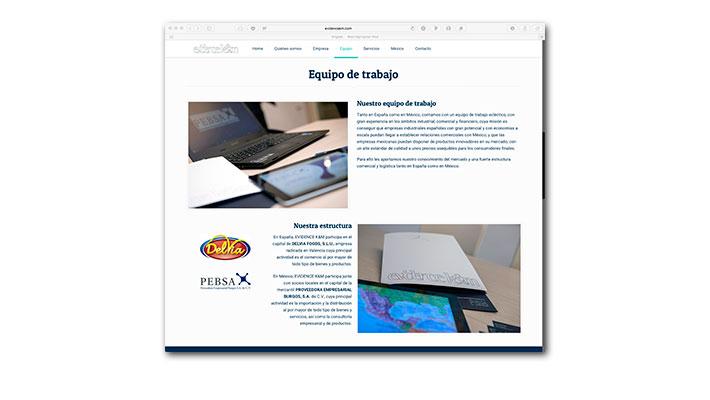 Diseño Web Evidence K&M - Equipo de trabajo