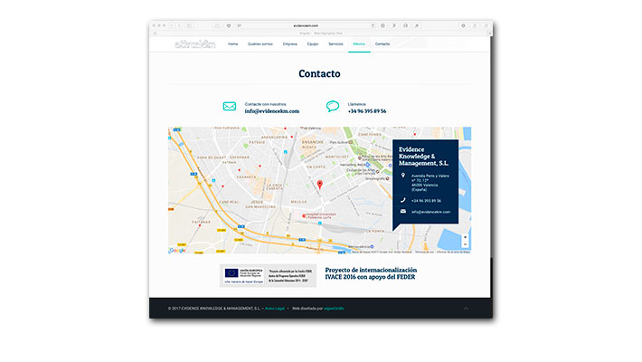 Diseño Web Evidence K&M - Contacto