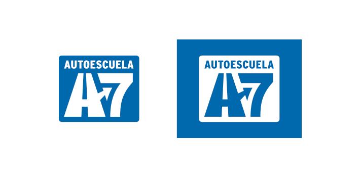 Diseño versiones logotipo Autoescuela A7