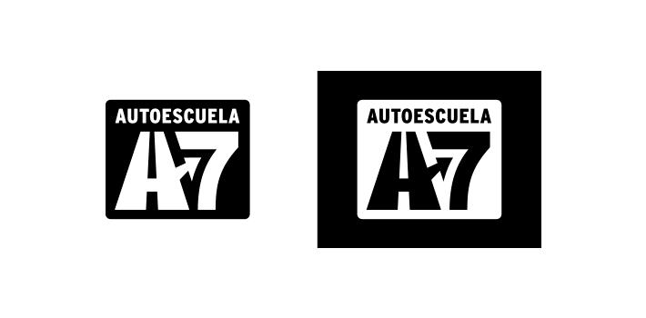 Diseño versiones blanco y negro logotipo Autoescuela A7