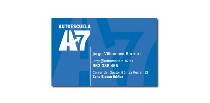 Diseño tarjeta Autoescuela A7