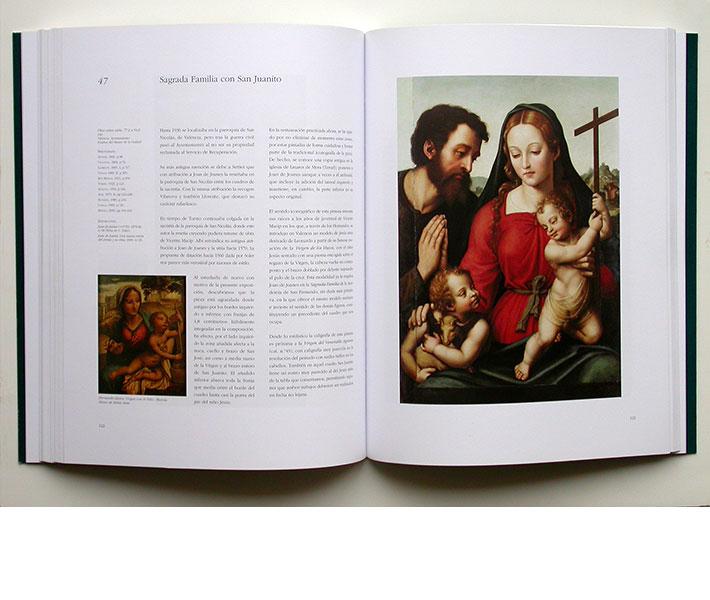 Maquetación y diseño editorial página catálogo Joan de Joanes