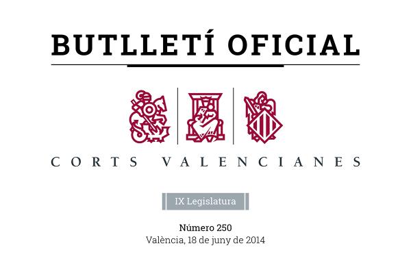 Cabecera Butlletí Oficial Corts Valencianes
