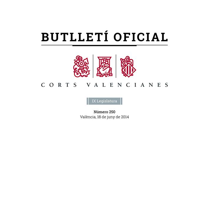 Detalle Portada Butlletí Oficial Corts Valencianes