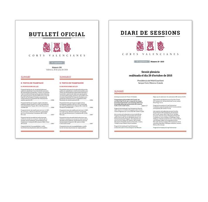 Comparativa diseño portadas Boletín Oficial y Diario de Sesiones Corts Valencianes