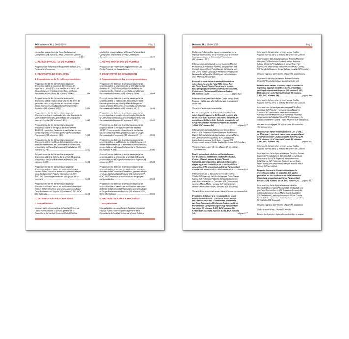 Comparativa diseño páginas interiores Boletín Oficial y Diario de Sesiones Corts Valencianes