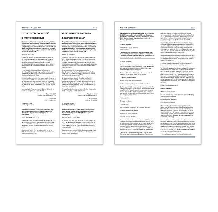Diseño comparativa páginas contenido Boletín Oficial y Diario de Sesiones Corts Valencianes