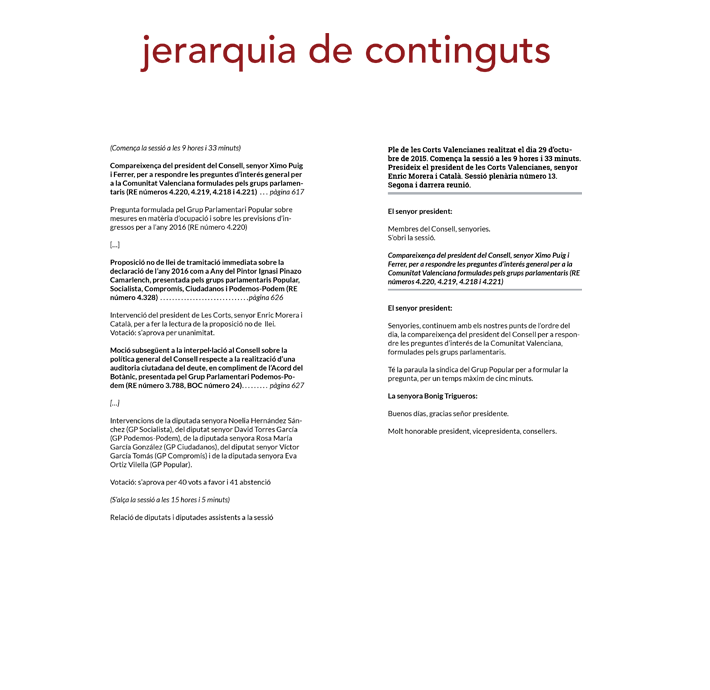 Jerarquía de contenidos Diari de Sessions Corts Valencianes