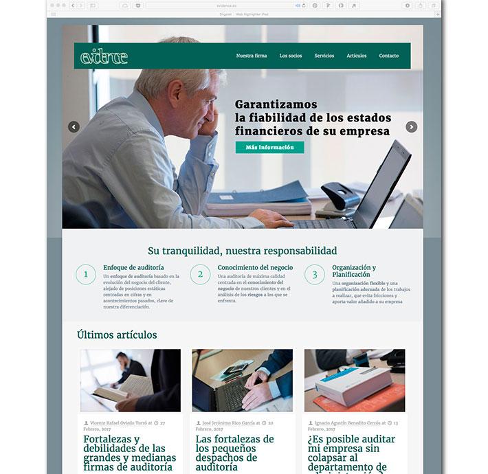 Diseño Web Evidence Homepage
