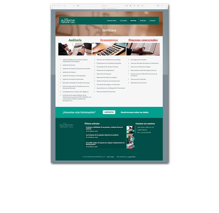 Diseño Web Evidence - Servicios