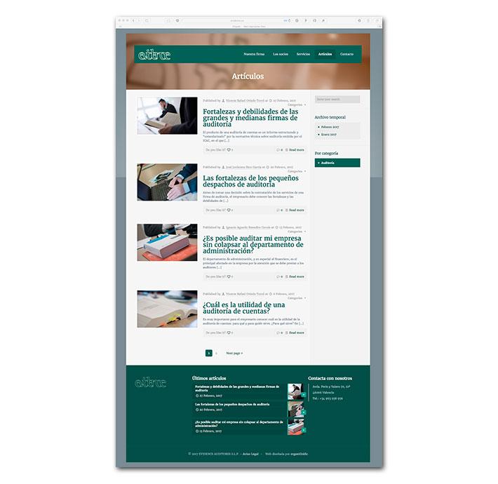 Diseño Web Evidence - Artículos (blog)