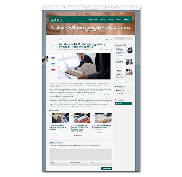 Diseño Web Evidence - Página artículo (blog single)