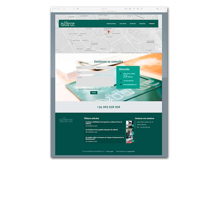 Diseño Web Evidence - Página de contacto