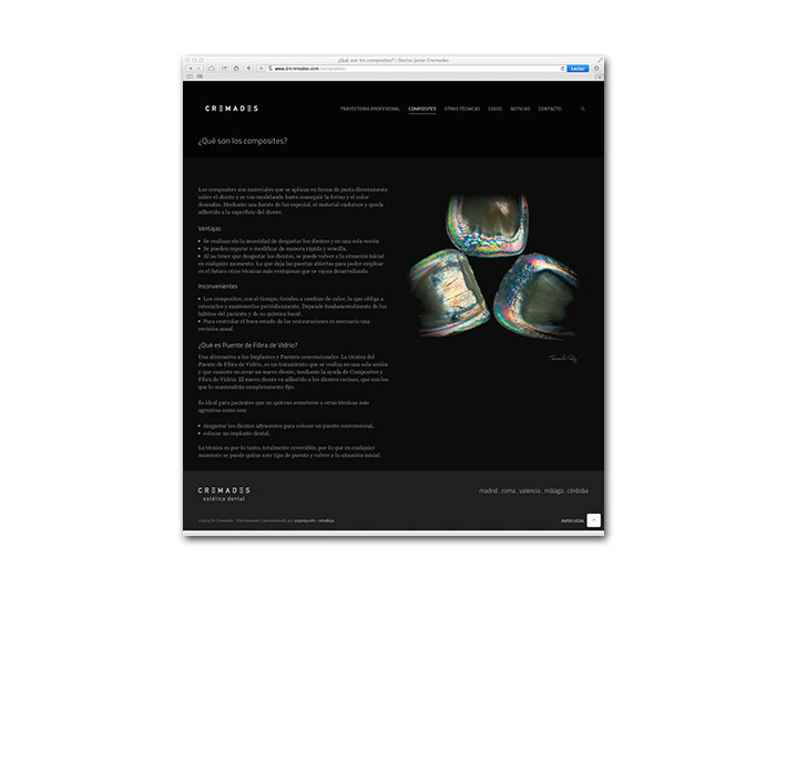 Diseño Web Cremades Estética Dental - Página