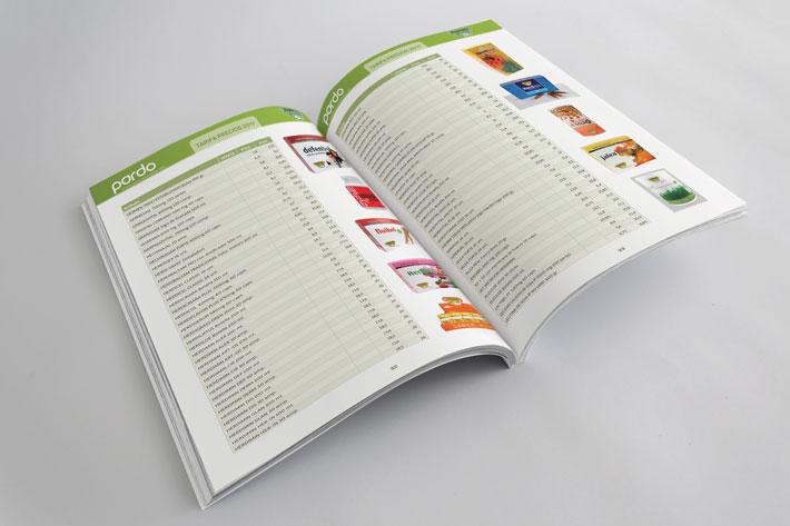 Doble página interior de libro de tarifas